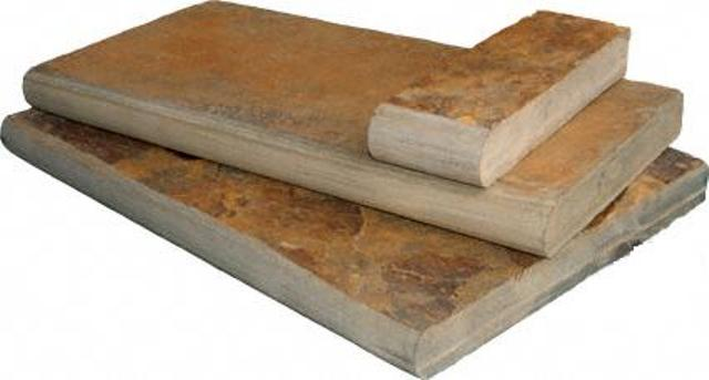 California Gold 12X24 Natural Cleft One Long Side Bullnose Pool Coping