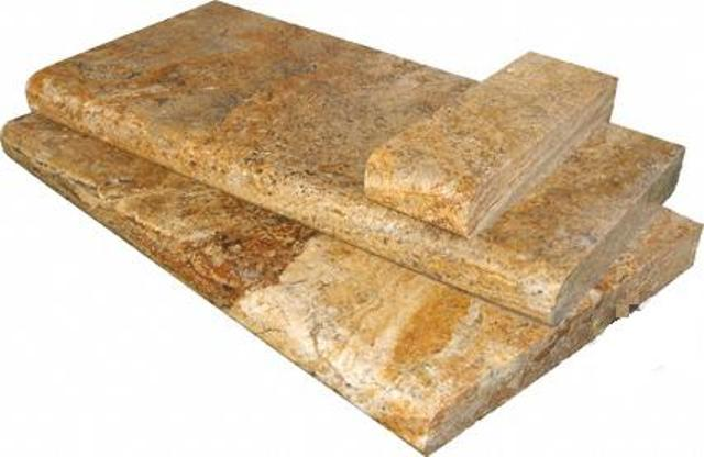Tuscany Scabas 16X24 Honed Unfilled Brushed One Long Side Bullnose Pool Coping