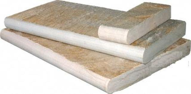 Golden White 16X24 Natural Cleft One Long Side Bullnose Pool Coping