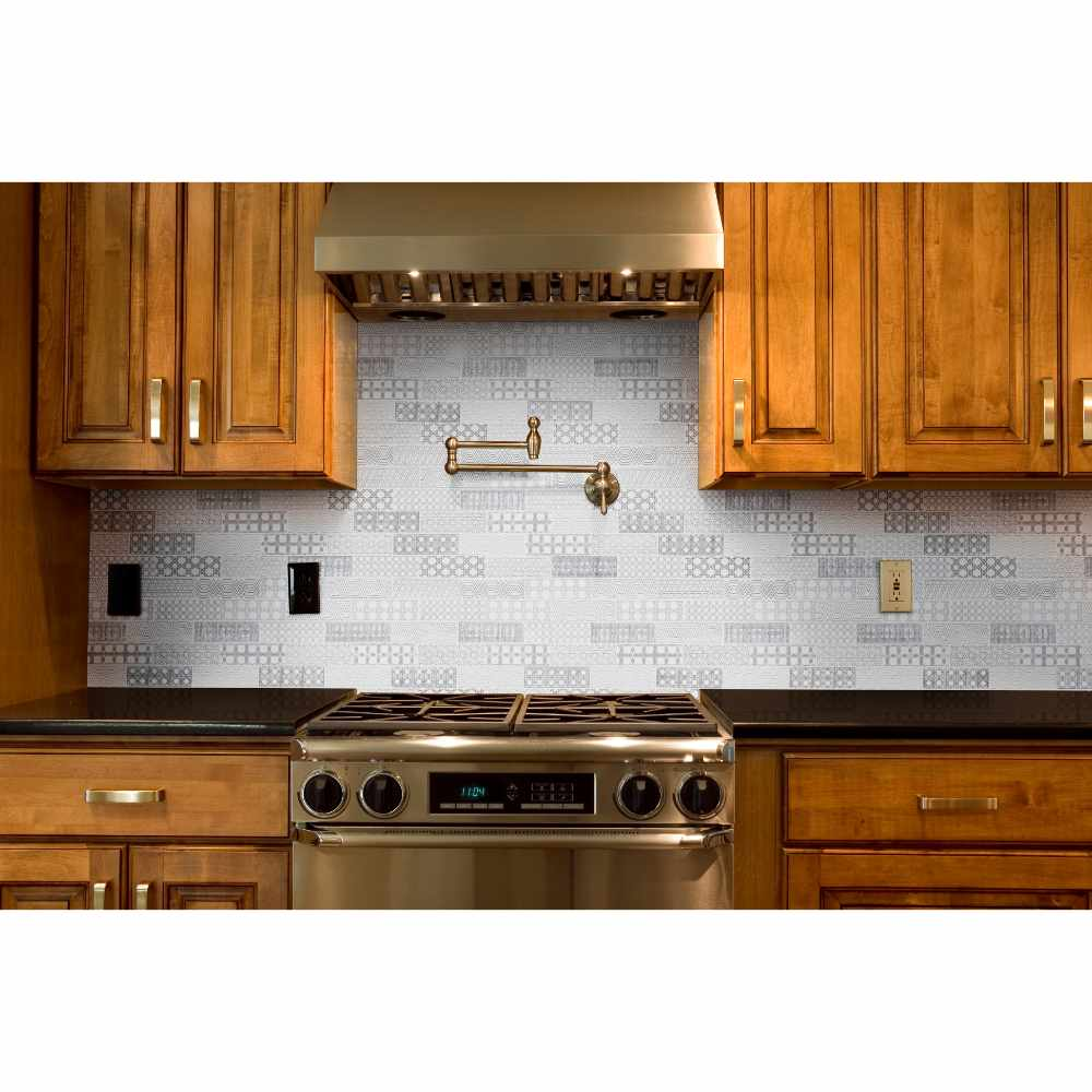 Abani 2X6 White Honed Encaustic Pattern Subway Tile