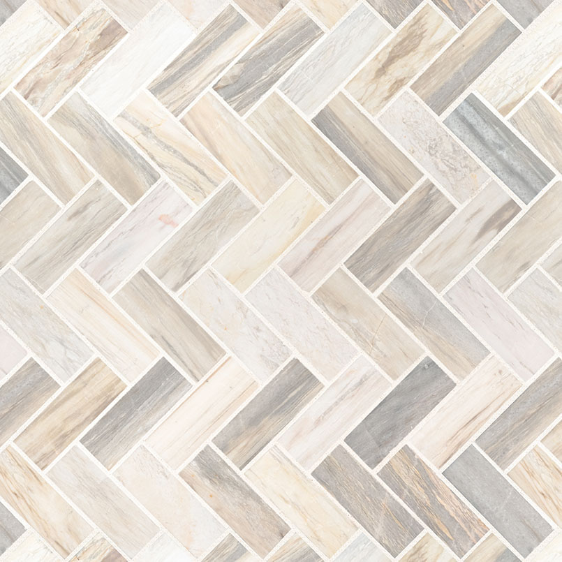 Angora Herringbone Pattern Polished Mosaic Wall Tile