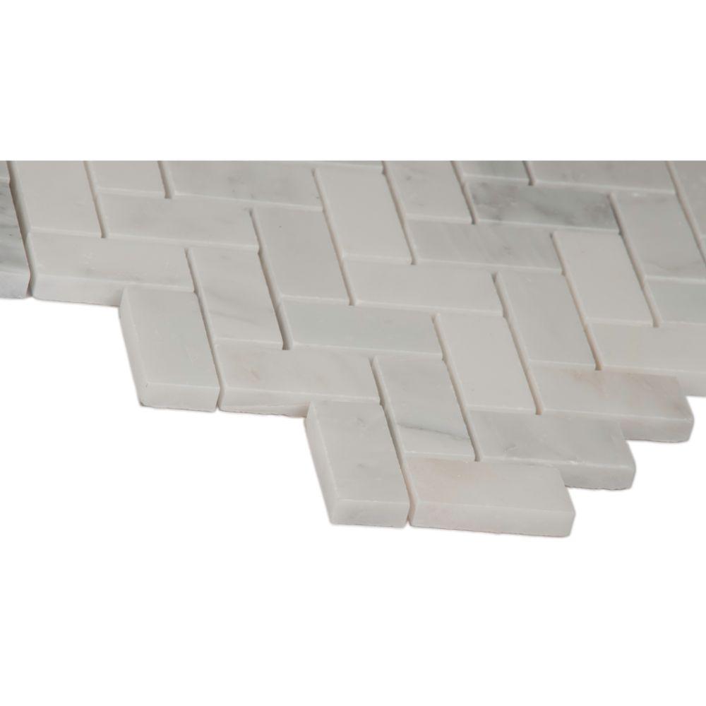 Arabescato Carrara Herringbone Pattern 1x2 Honed