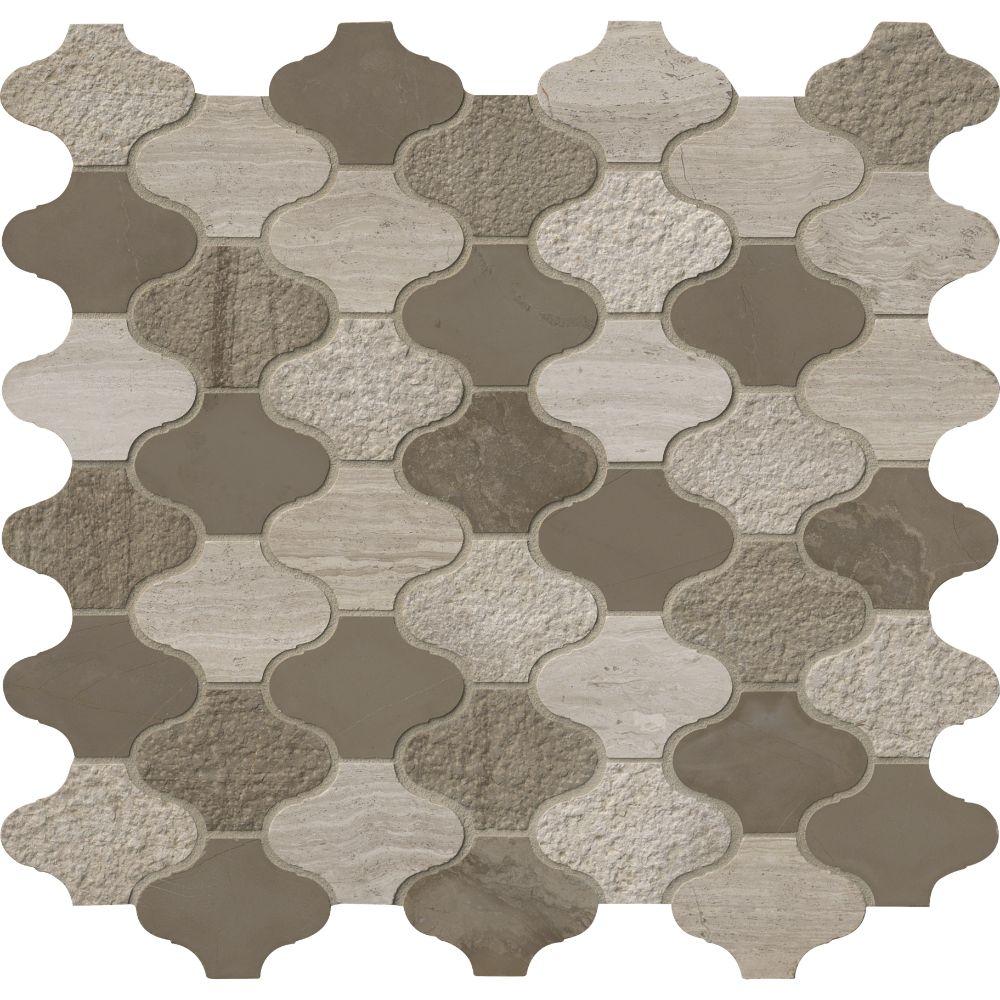 Arctic Storm Arabesque 12X12 Multi Finish Marble Mosaic