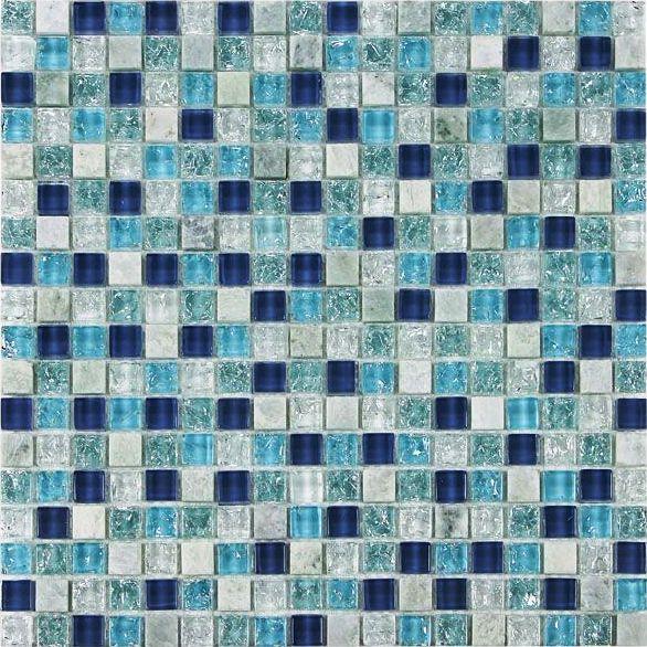 Azure Blue 5/8x5/8 Glass Mix Blend Mosaic