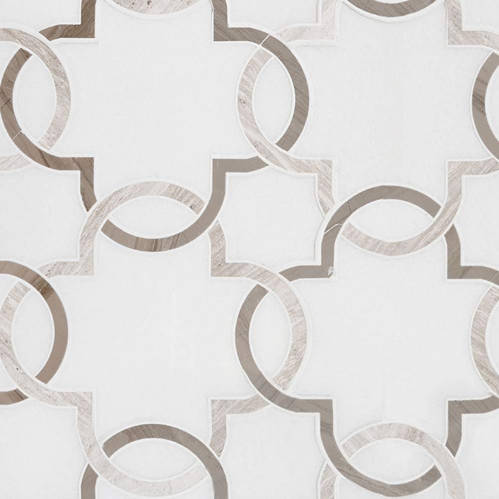 Bianco Quatrefoil Polished Pattern Marble Tile