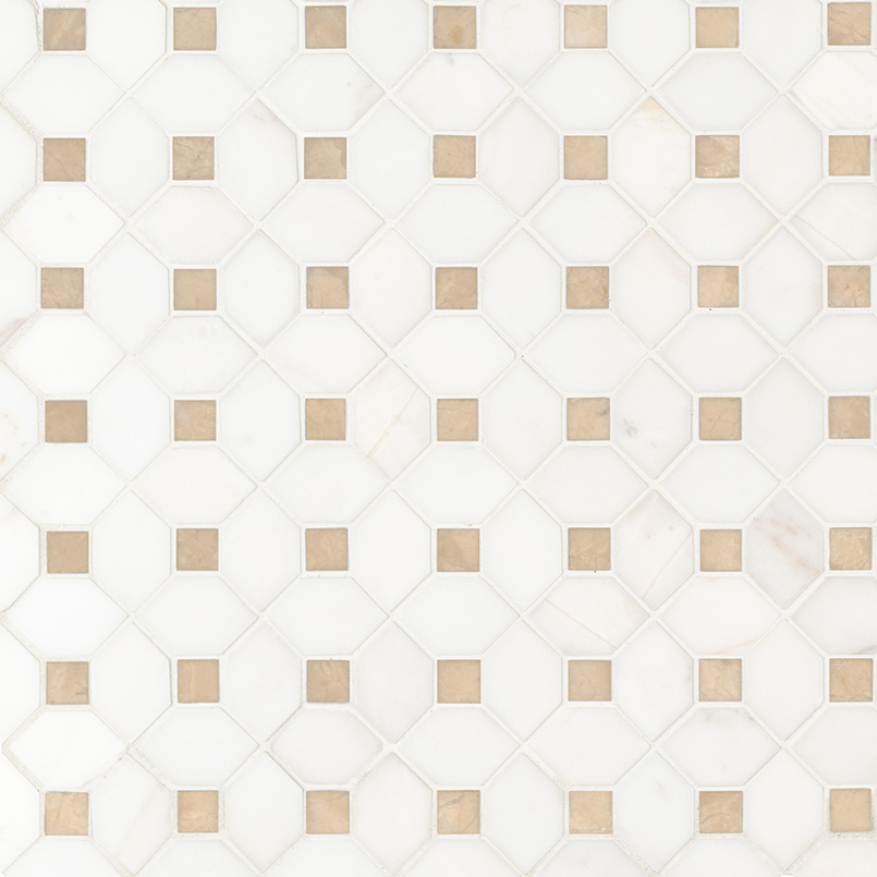 Bianco Dolomite Crema Dotty Polished Backsplash Mosaic