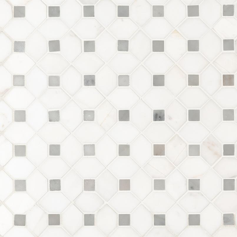 Bianco Dolomite Dotty Polished Backsplash Mosaic