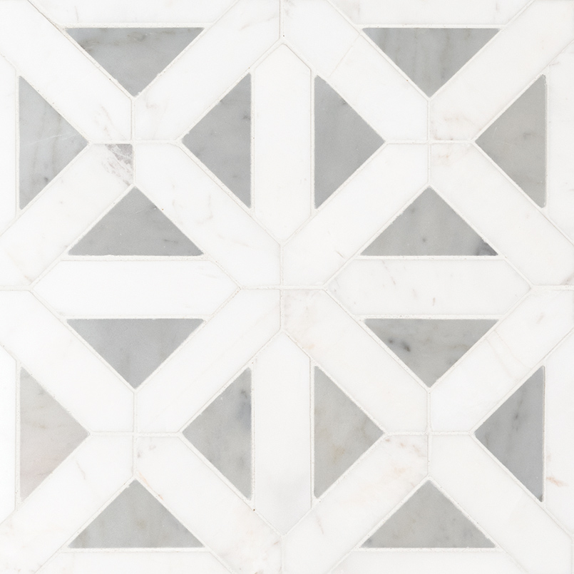 Bianco Dolomite Geometric Pattern Polished Mosaic