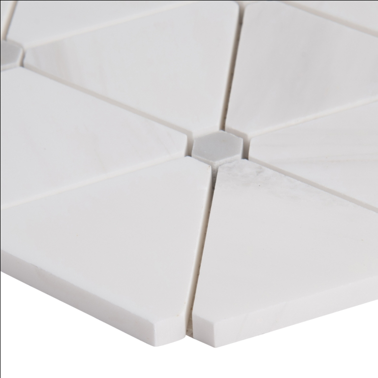 Bianco Dolomite Pinwheel Polished Backsplash Mosaic