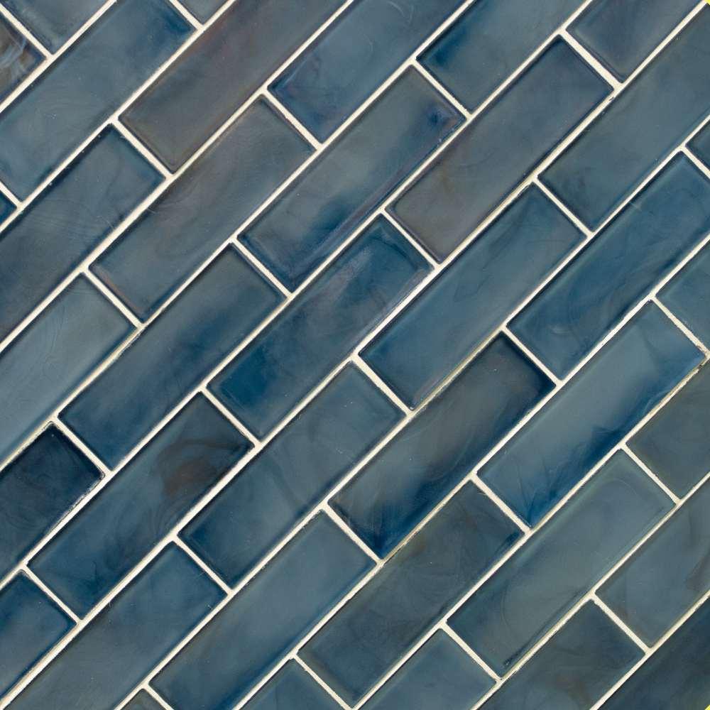 Blue Shimmer 2X6 Glossy Glass Subway Tile