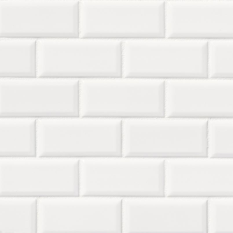 Bright White Glossy 2x4 Bevel Ceramic Subway Tile
