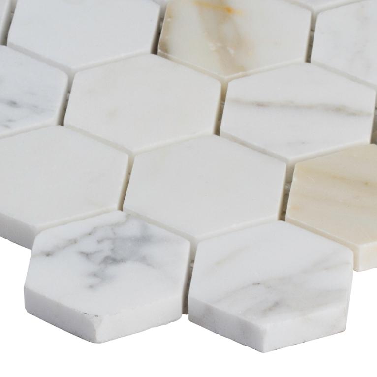 Calacata Gold 2x2 Hexagon Polished Marble Mosaic