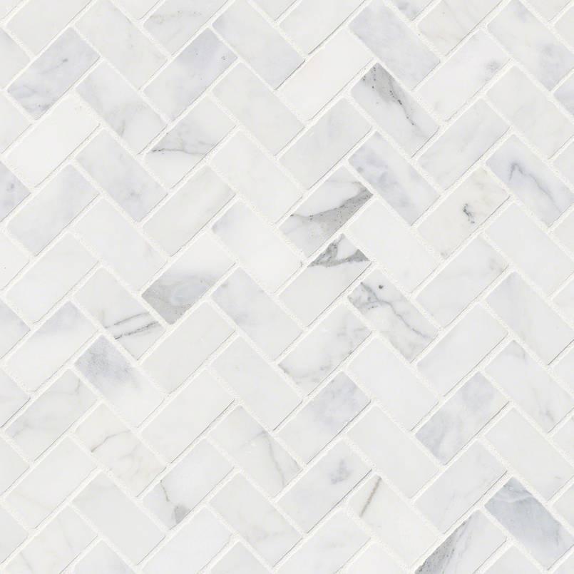 Calacatta Cressa Herringbone Pattern Honed Mosaic