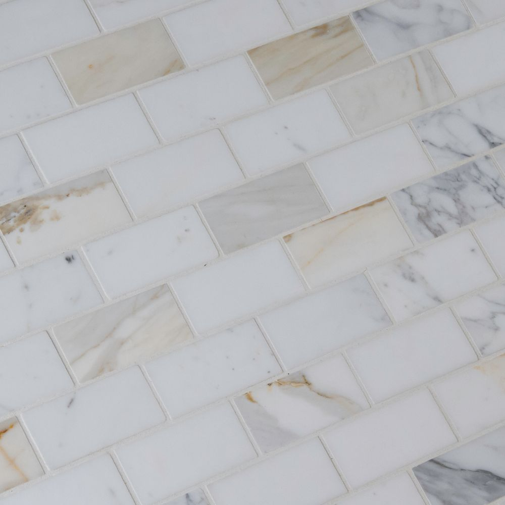 Calacatta Gold 2X4 Polished Marble Mosaic