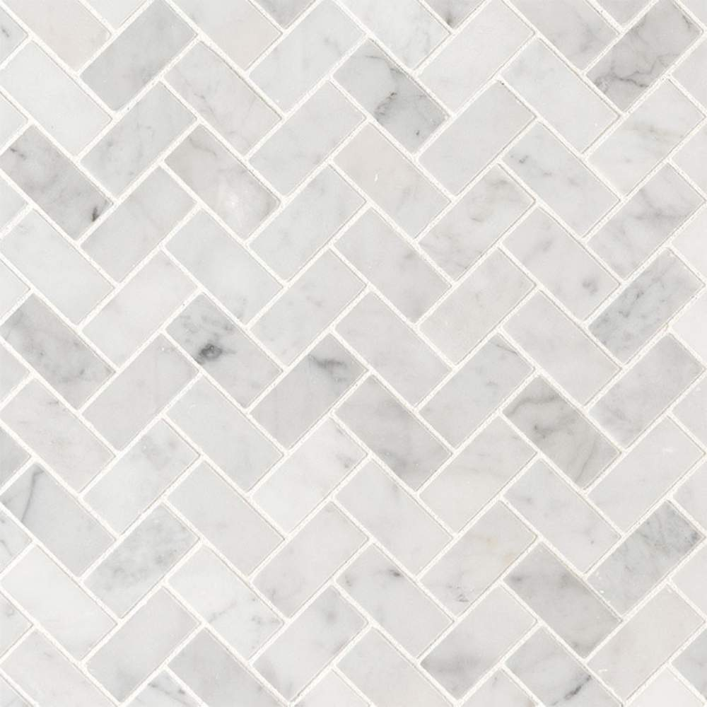 Carrara White 1X2 Herringbone Honed Mosaic