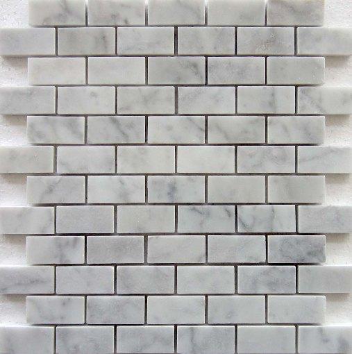 Carrara White 1x2 Polished Brick Mosaic