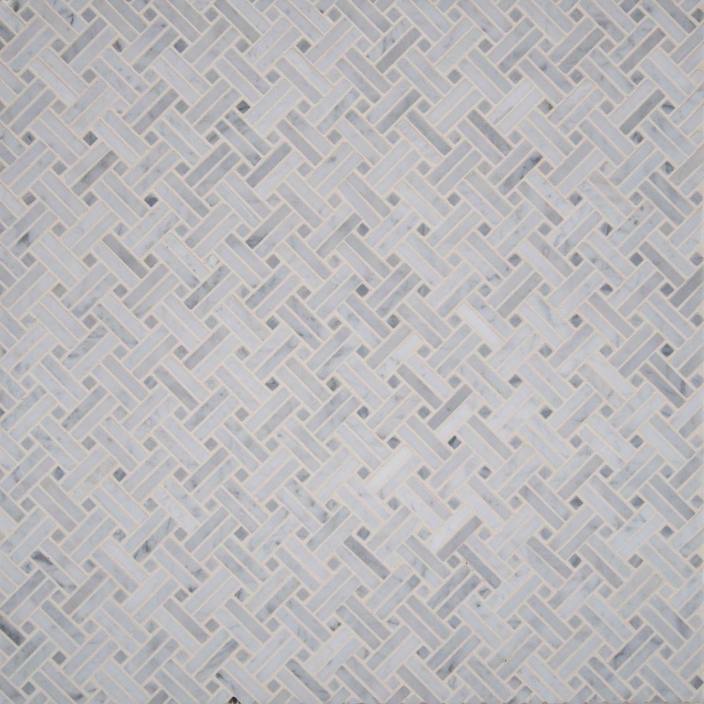 Carrara White Basketweave 12x12 Polished Mosaic