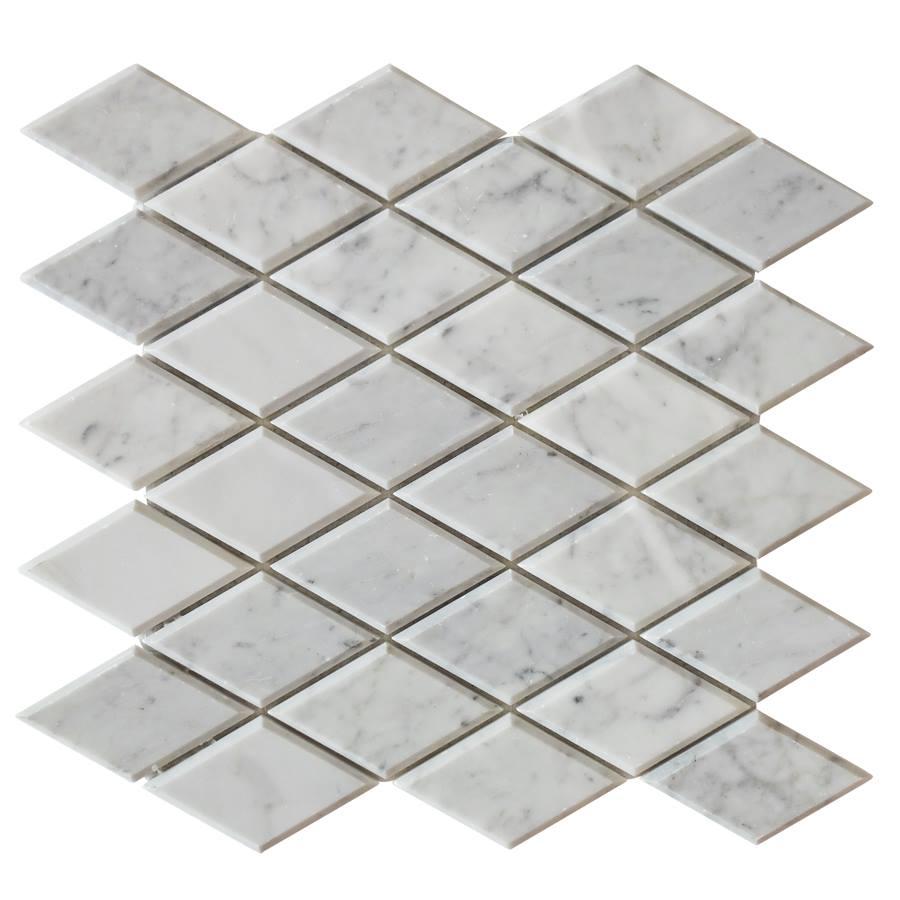 Carrara White Beveled Diamond Polished Mosaic