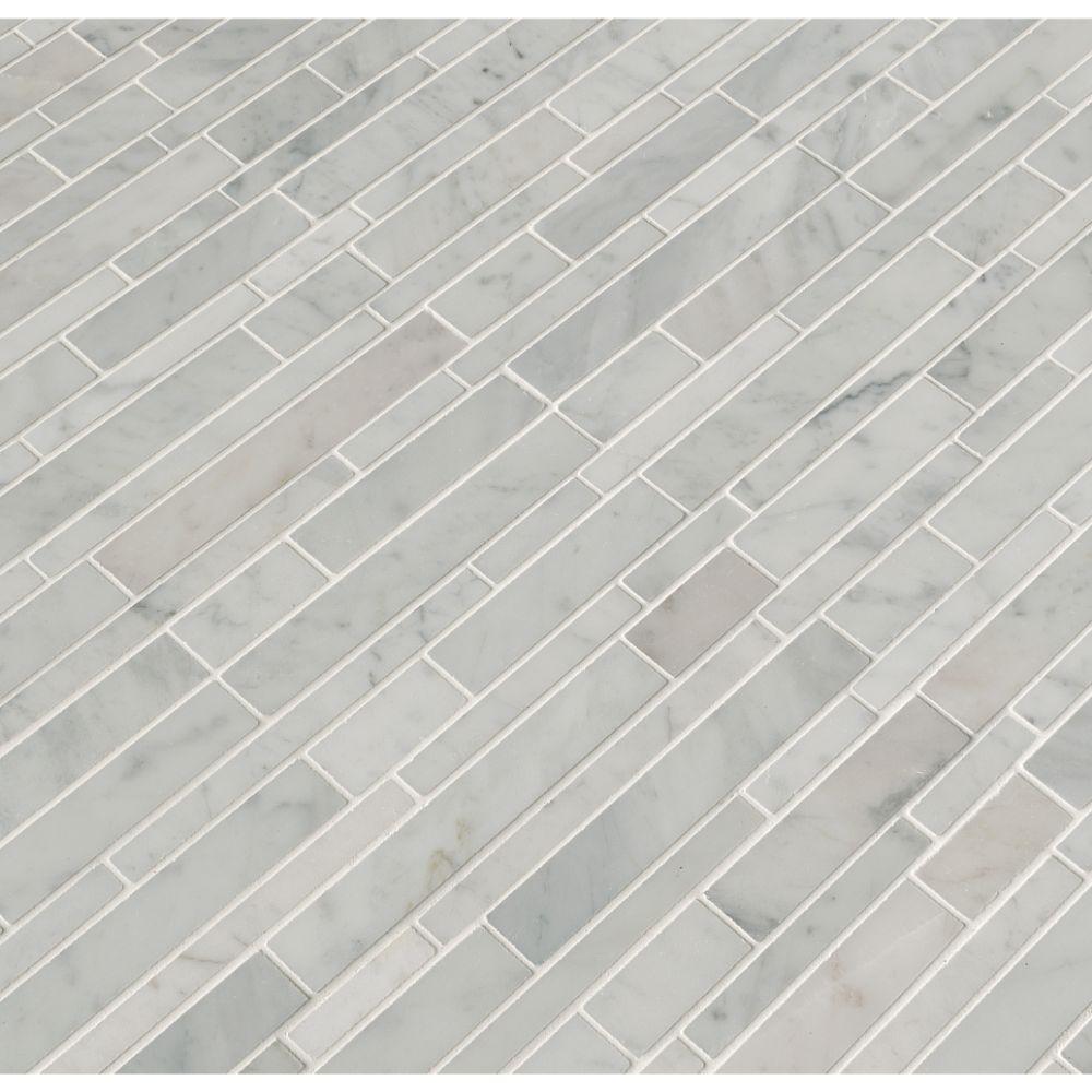 Carrara White RSP Interlocking Pattern Polished Mosaic