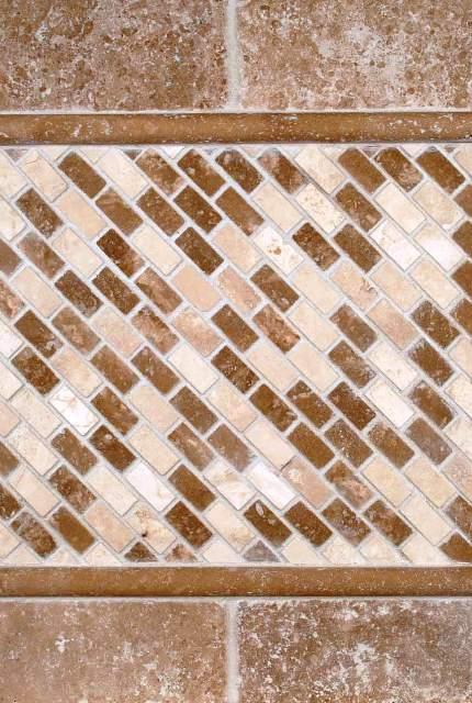 Chiaro Brick 12X12 Tumbled Travertine Mesh-Mounted Mosaic Tile