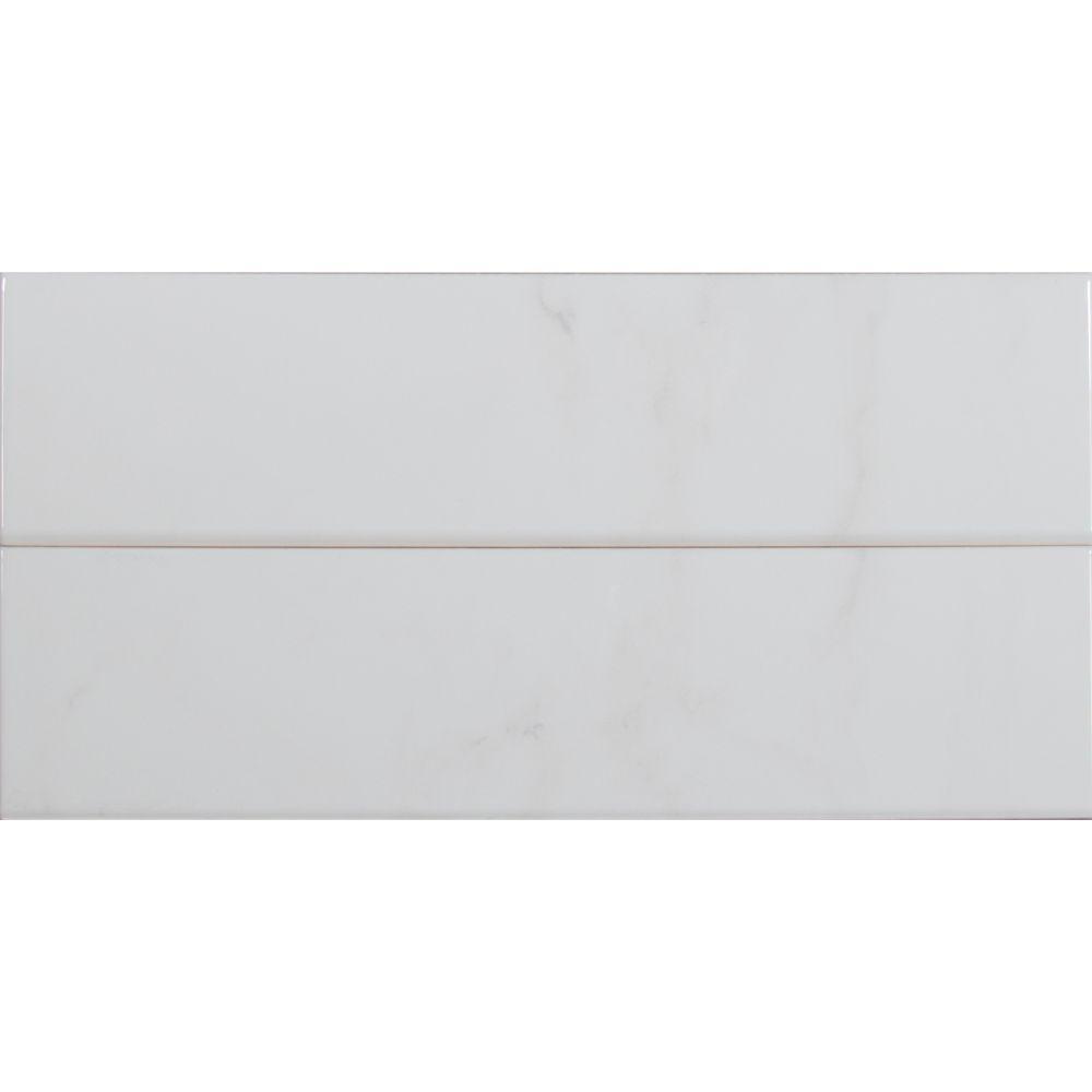 Classique White Carrara 4X16 Glossy Bullnose