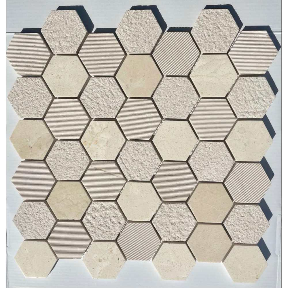 Crema Marfil 2X2 Hexagon Multi Finish Mosaic Tile
