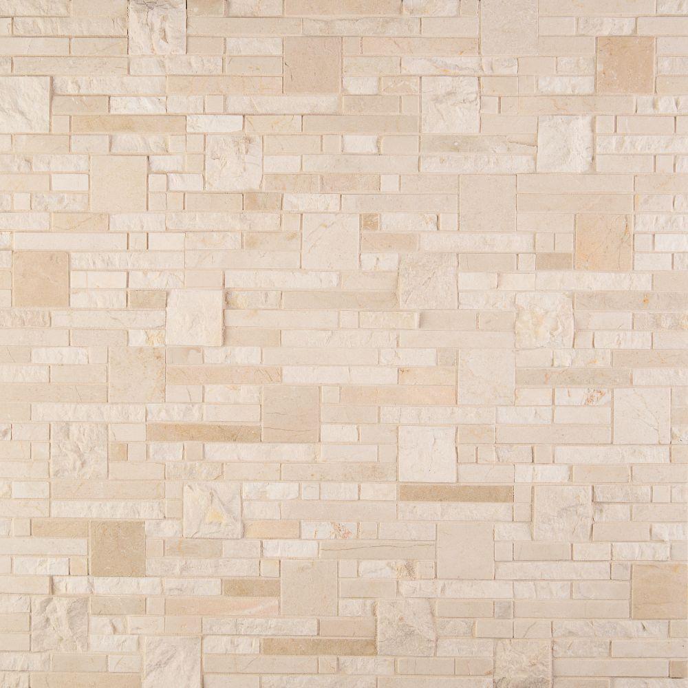 Crema Opus Polished and Splitface Pattern Mosaic