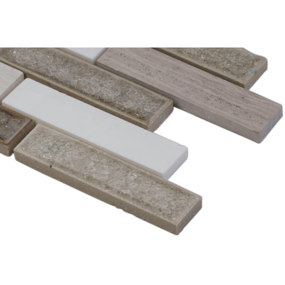 Crystal Cliffs 1X4X8MM Interlocking Brick Pattern Mosaic