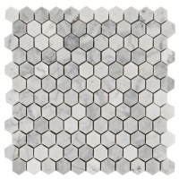 Arabescato Carrara 1x1 Hexagon Honed Marble Mosaic