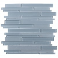 Azure Glass Mix 12x12 Random Strip Mosaic