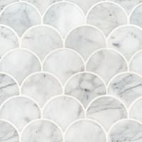Calacatta Blanco Scallop Pattern Polished Backsplash Wall Tile