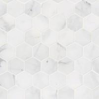 Calacatta Cressa 2X2 Hexagon Pattern Honed Mosaic