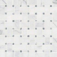 Calacatta Cressa Basketweave Pattern Honed Mosaic