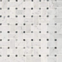 Carrara White Basketweave Pattern Honed Mosaic