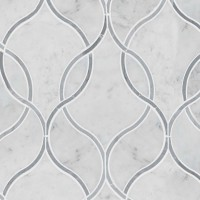 Carrara White Polished Ellipsis Pattern Marble Tile