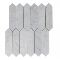 Carrara White 2x8 Polished Elongated Hexagon Mosaic