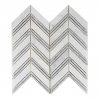 Carrara And Oriental White Polished 12x12 Chevron Mosaic