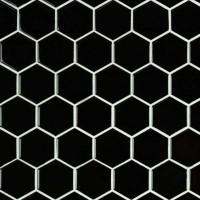 Domino Black 2X2 Hexagon Glossy Porcelain Tile