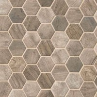 Driftwood Hexagon Pattern Recycled Glass Mosaic