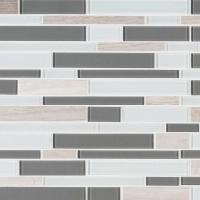 Gray Cliff 12X12 Interlocking Stone Glass Backsplash Tile