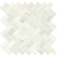 Greecian White Herringbone Pattern 12x12 Polished