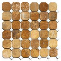 Autumn Gold Octagon 12x12 Interlocking Polished