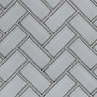 Ice Bevel White 2x4x8 Herringbone Mosaic Tile