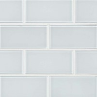 Ice White 3X6 Glass Subway Tile