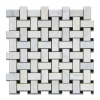 Oriental White 12x12 Polished Basketweave Mosaic