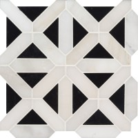 Retro Fretwork 12x12 Polished Marble Tile