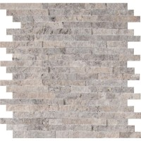 Silver Travertine Splitface Pattern Marble Tile