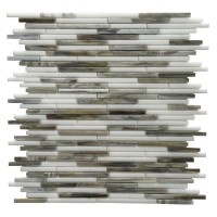 Silver Weave Glass Mix 12x12 Random Strip Mosaic