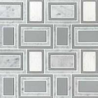 Soho Stax Geometric Pattern Glass Stone Waterjet Cut Mosaic