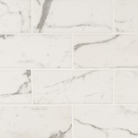 Statuario Celano 3X6 Recycled Glass Pattern Mosaic